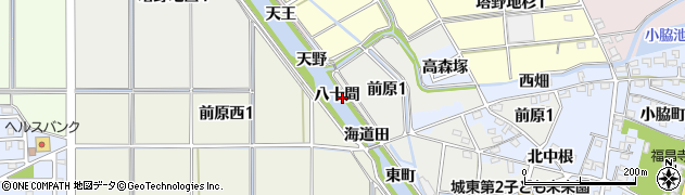 愛知県犬山市前原(八十間)周辺の地図