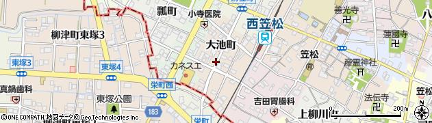 岐阜県羽島郡笠松町大池町周辺の地図
