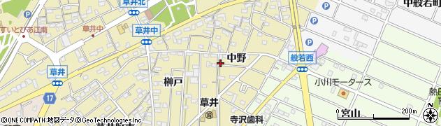 愛知県江南市草井町(中野)周辺の地図