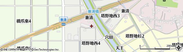 愛知県犬山市塔野地(兼清)周辺の地図
