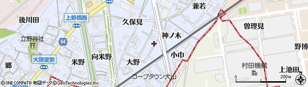 愛知県犬山市上野(午ノ背)周辺の地図