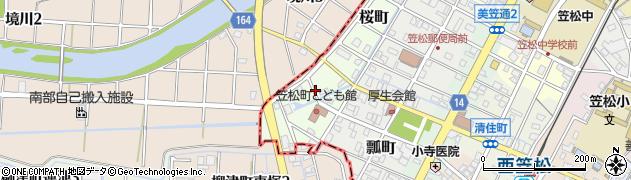 岐阜県羽島郡笠松町桜町周辺の地図