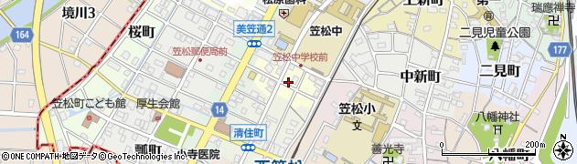 岐阜県羽島郡笠松町弥生町周辺の地図