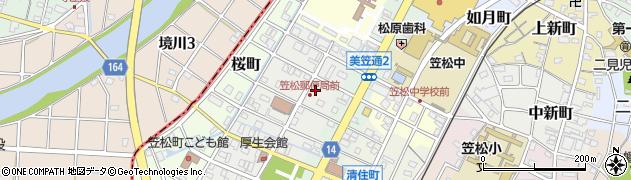 岐阜県羽島郡笠松町友楽町周辺の地図