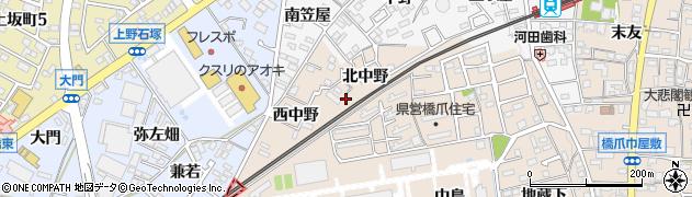 愛知県犬山市橋爪(東中野)周辺の地図