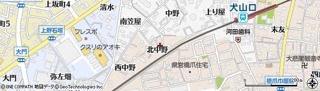 愛知県犬山市橋爪(北中野)周辺の地図