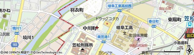 岐阜県羽島郡笠松町中川町周辺の地図