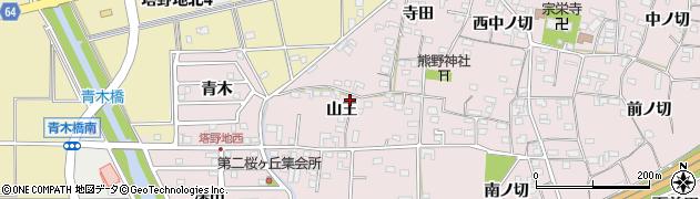 愛知県犬山市塔野地(山王)周辺の地図