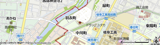 岐阜県羽島郡笠松町羽衣町周辺の地図