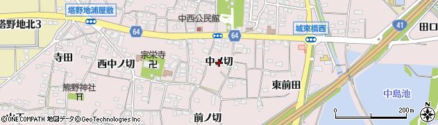 愛知県犬山市塔野地(中ノ切)周辺の地図