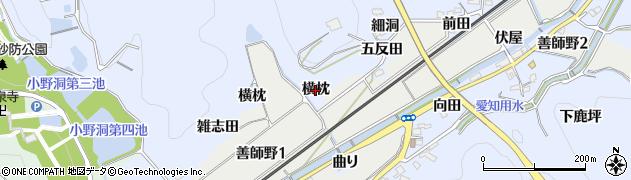 愛知県犬山市善師野(横枕)周辺の地図
