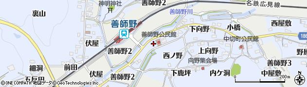 愛知県犬山市善師野(上紅屋)周辺の地図