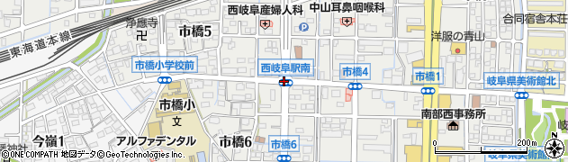 西岐阜駅南周辺の地図