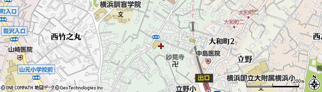 神奈川県横浜市中区竹之丸周辺の地図