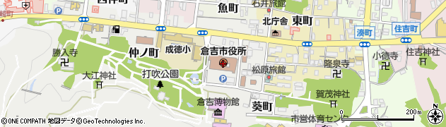 鳥取県倉吉市周辺の地図