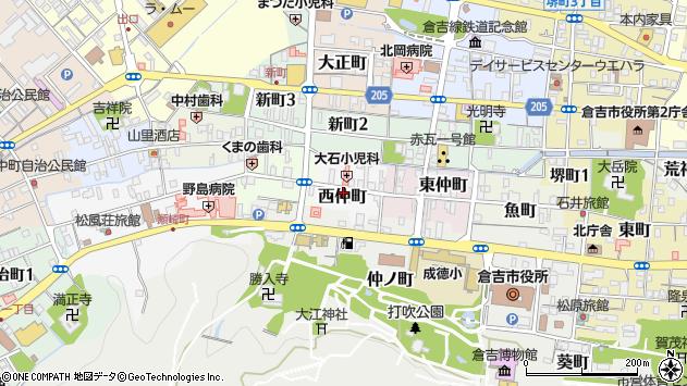 〒682-0825 鳥取県倉吉市西仲町の地図