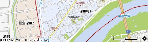 深田神社周辺の地図
