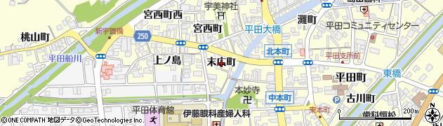 島根県出雲市平田町(末広町)周辺の地図