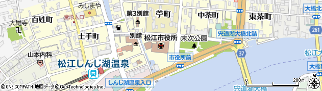 島根県松江市周辺の地図