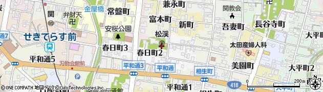 岐阜県関市前町周辺の地図