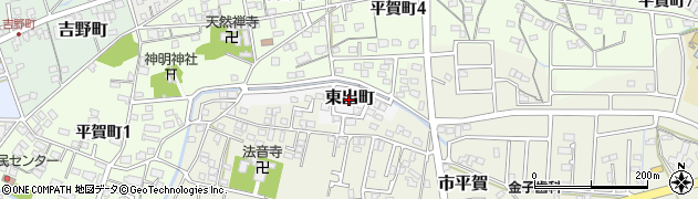 岐阜県関市東出町周辺の地図