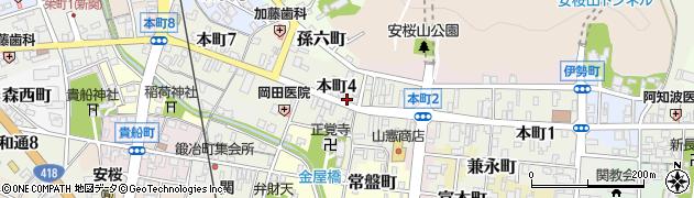 岐阜県関市本町周辺の地図