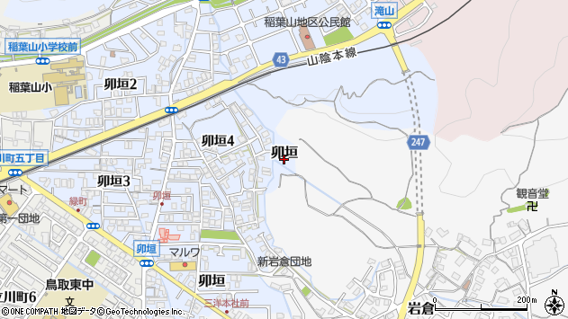〒680-0074 鳥取県鳥取市卯垣の地図