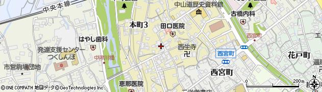 岐阜県中津川市本町周辺の地図
