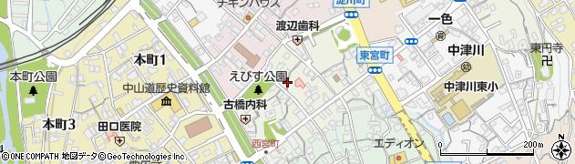 岐阜県中津川市えびす町周辺の地図