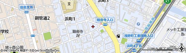 神奈川県川崎市川崎区浜町周辺の地図