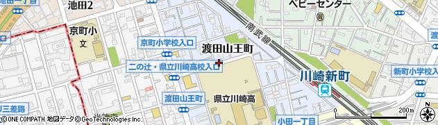 神奈川県川崎市川崎区渡田山王町周辺の地図
