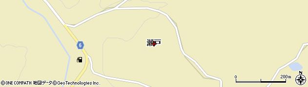 岐阜県中津川市瀬戸周辺の地図