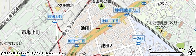 神奈川県川崎市川崎区池田周辺の地図