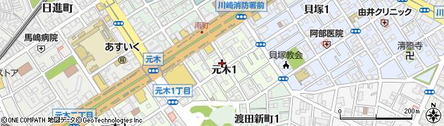 神奈川県川崎市川崎区元木周辺の地図