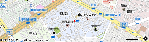 神奈川県川崎市川崎区貝塚周辺の地図