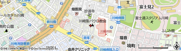 神奈川県川崎市川崎区新川通周辺の地図