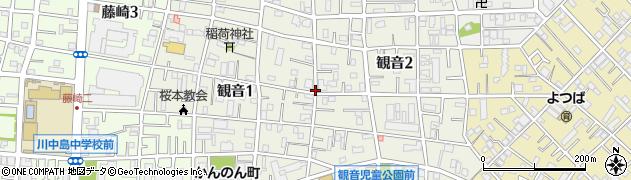 神奈川県川崎市川崎区観音周辺の地図
