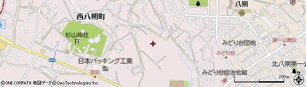 神奈川県横浜市緑区西八朔町周辺の地図