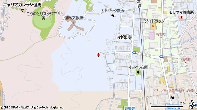 〒668-0056 兵庫県豊岡市妙楽寺の地図