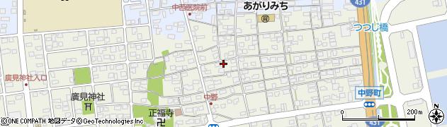 鳥取県境港市中野町周辺の地図