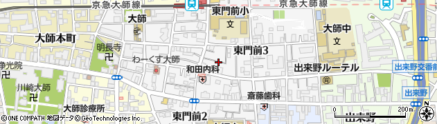 神奈川県川崎市川崎区東門前周辺の地図
