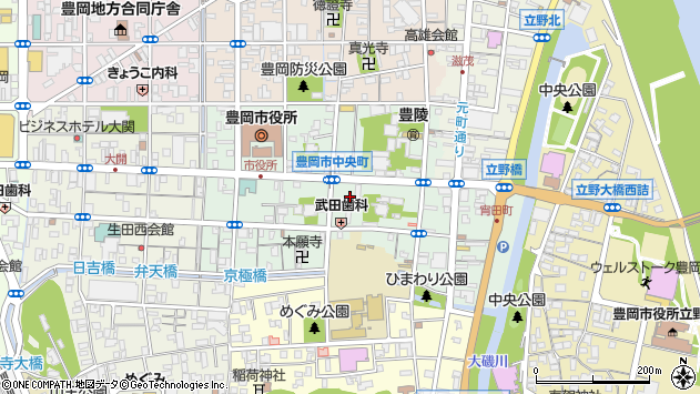 〒668-0033 兵庫県豊岡市中央町の地図