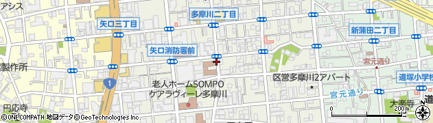 東京都大田区多摩川周辺の地図
