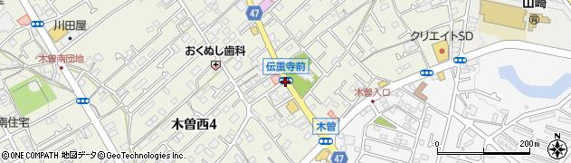 伝重寺前周辺の地図