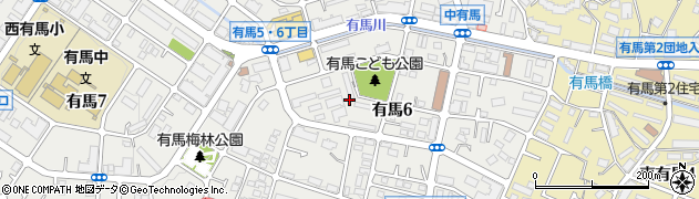 有馬南住宅周辺の地図