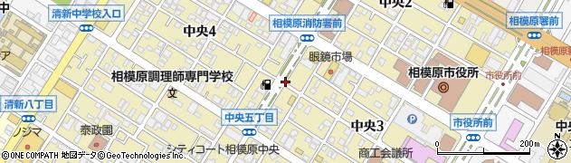 神奈川県相模原市中央区中央周辺の地図