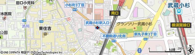 武蔵小杉駅入口周辺の地図