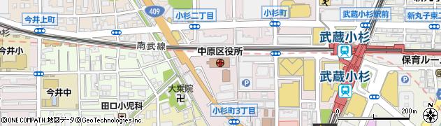 神奈川県川崎市中原区周辺の地図