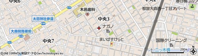 東京都大田区中央周辺の地図