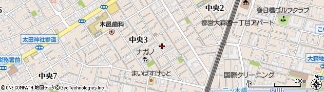 東京都大田区中央3丁目周辺の地図